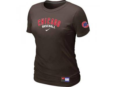 Women Chicago Cubs NEW Brown Short Sleeve Practice T-Shirt