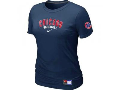 Women Chicago Cubs NEW D.Blue Short Sleeve Practice T-Shirt