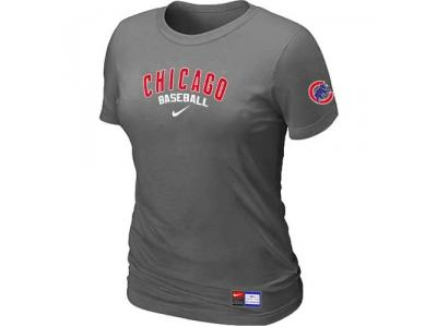 Women Chicago Cubs NEW D.Grey Short Sleeve Practice T-Shirt