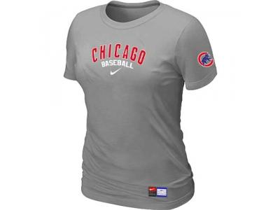 Women Chicago Cubs NEW L.Grey Short Sleeve Practice T-Shirt