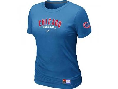 Women Chicago Cubs NEW L.blue Short Sleeve Practice T-Shirt