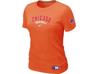 Women Chicago Cubs NEW Orange Short Sleeve Practice T-Shirt