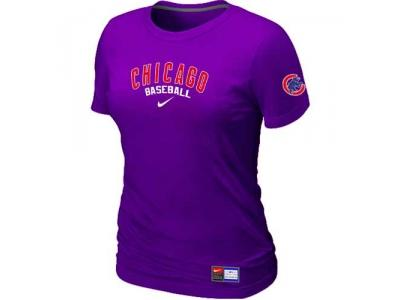 Women Chicago Cubs NEW Purple Short Sleeve Practice T-Shirt