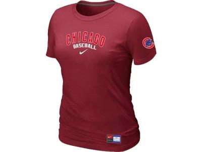 Women Chicago Cubs NEW Red Short Sleeve Practice T-Shirt