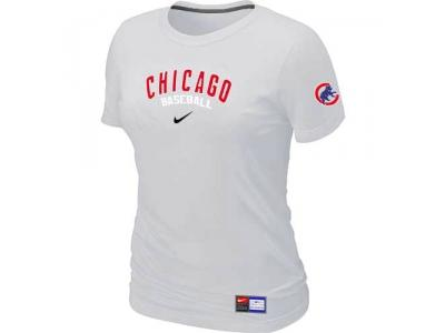 Women Chicago Cubs NEW White Short Sleeve Practice T-Shirt