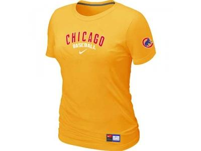 Women Chicago Cubs NEW Yellow Short Sleeve Practice T-Shirt