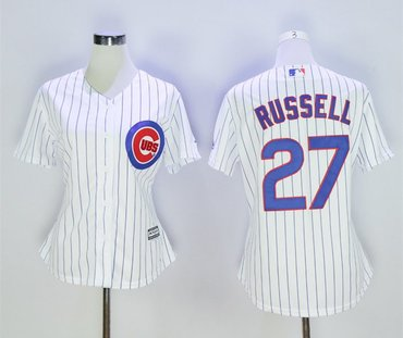 Women Cubs 27 Addison Russell White Women Cool Base Jersey