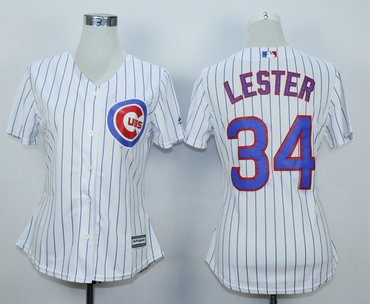Women Cubs 34 Jon Lester White Women Cool Base Jersey