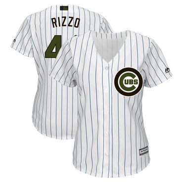 Women Cubs 44 Anthony Rizzo White Women 2018 Memorial Day Cool Base Jersey