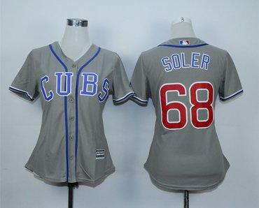 Women Cubs 68 Jorge Soler Gray Women Jersey