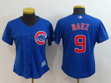 Women Cubs 9 Javier Baez Royal Women Cool Base Jersey