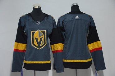 Women Custom Vegas Golden Knights Gray Jersey