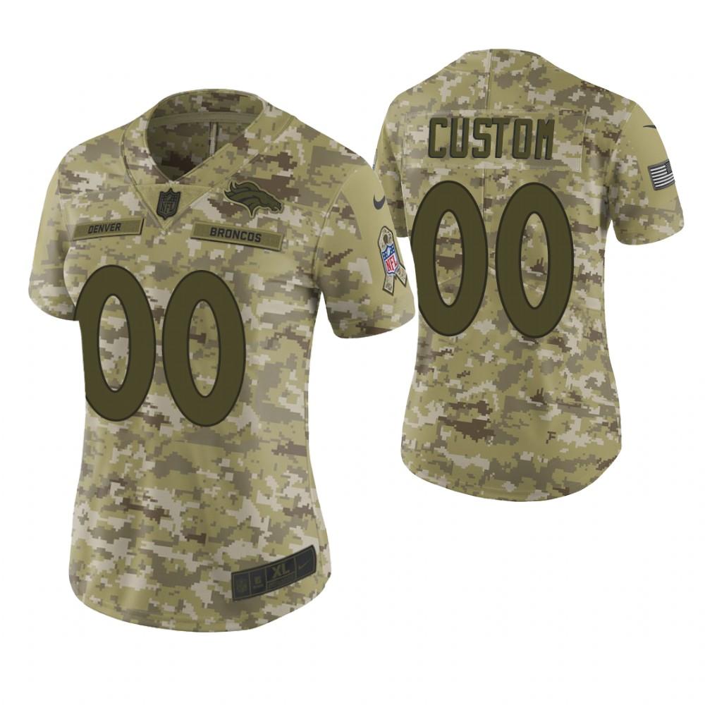 Women Denver Broncos Custom Camo 2018 Salute To Service Limited Jersey