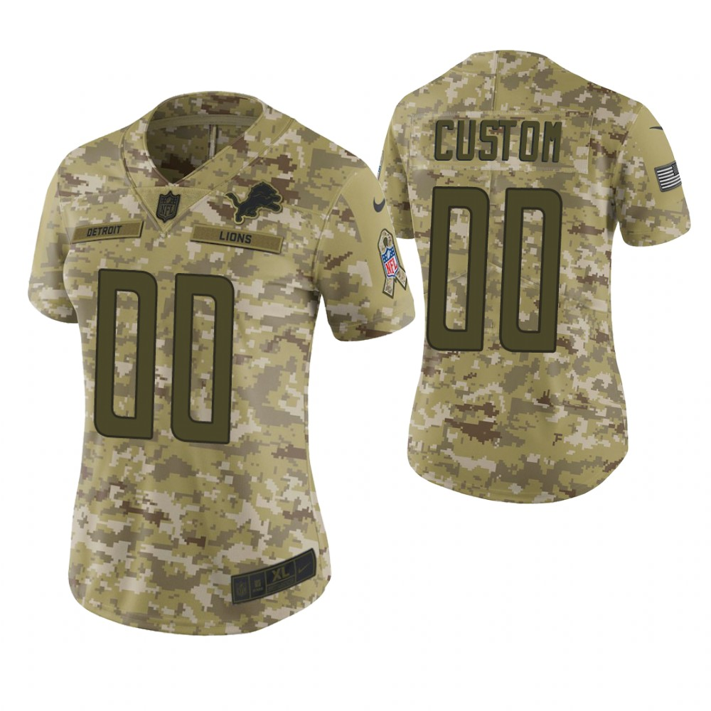 Women Detroit Lions Custom Camo 2018 Salute To Service Limited Jersey