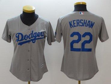 Women Dodgers 22 Clayton Kershaw Gray Women Cool Base Jersey