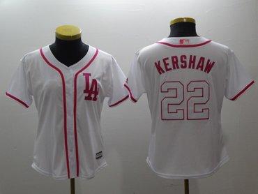 Women Dodgers 22 Clayton Kershaw White Pink Women Cool Base Jersey