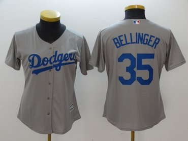 Women Dodgers 35 Cody Bellinger Gray Women Cool Base Jersey