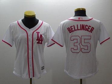 Women Dodgers 35 Cody Bellinger White Pink Women Cool Base Jersey