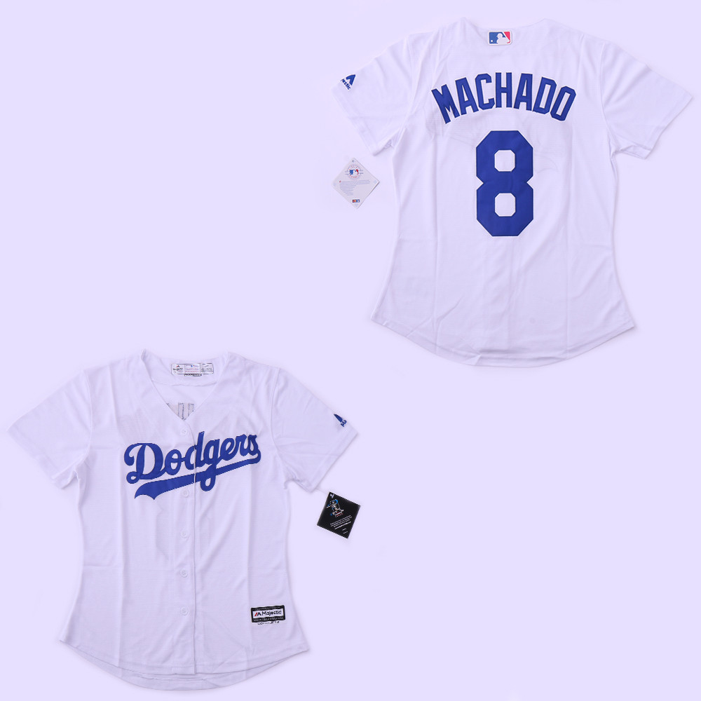 Women Dodgers 8 Manny Machado White Women Cool Base Jersey