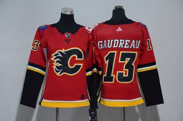 Women Flames 13 Johnny Gaudreau Red Women Adidas Jersey