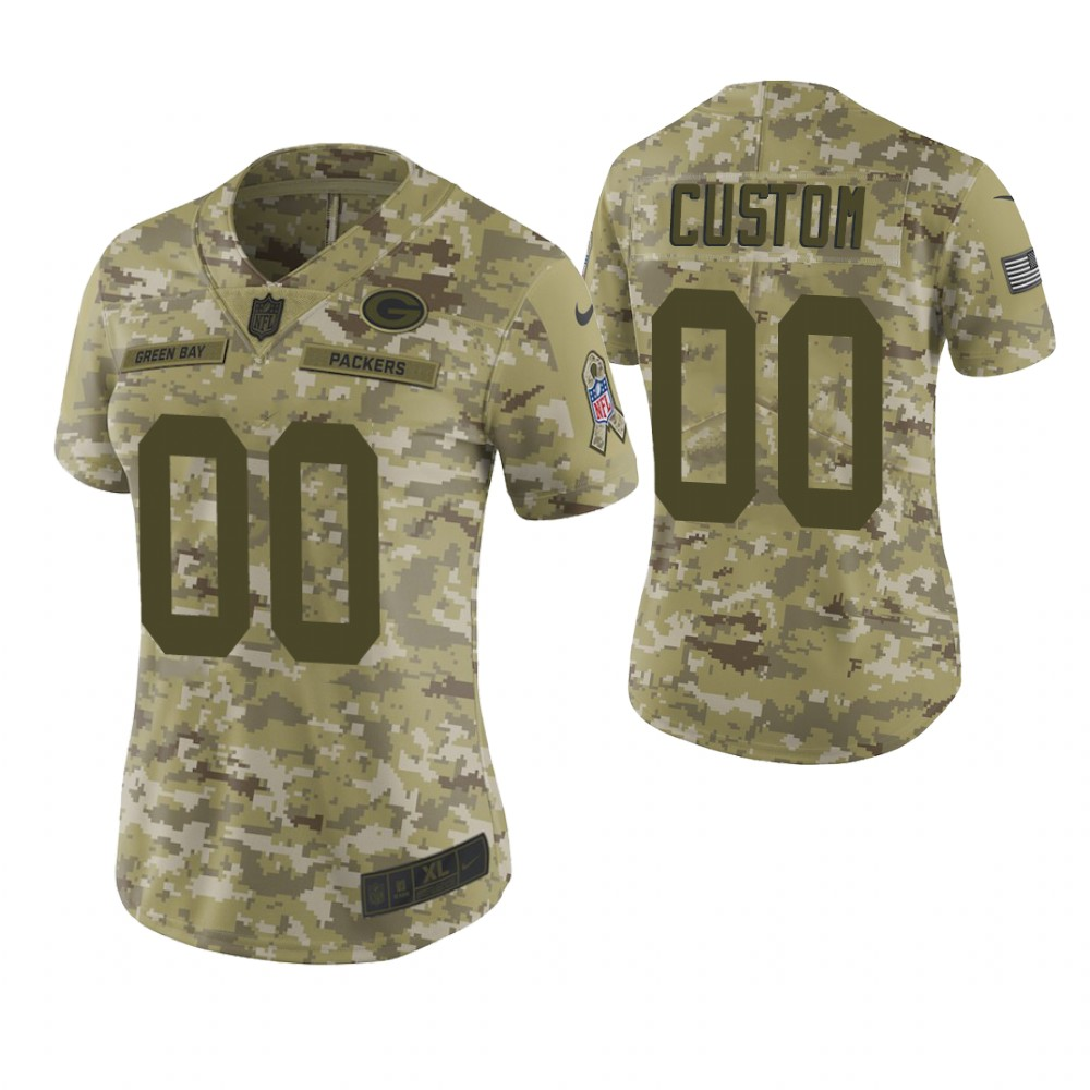 Women Green Bay Packers Custom Camo 2018 Salute To Service Limited Jersey
