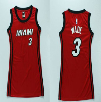 Women Heat #3 Dwyane Wade Red Dress Stitched NBA Jersey