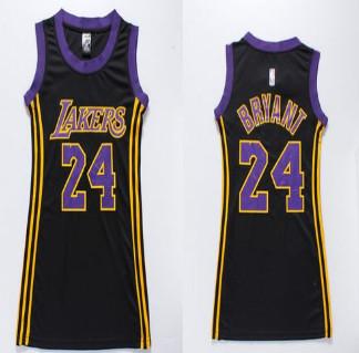 Women Lakers #24 Kobe Bryant Black(Purple No.) Dress Stitched NBA Jersey
