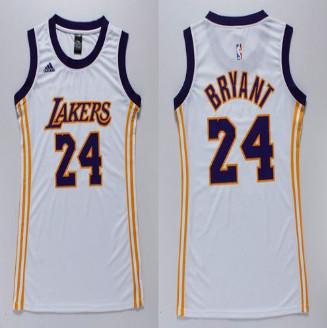 Women Lakers #24 Kobe Bryant White Dress Stitched NBA Jersey