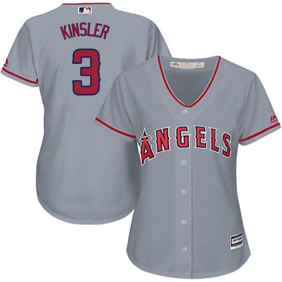 Women Los Angeles Angels #3 Ian Kinsler Gray Jersey