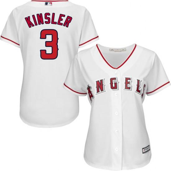 Women Los Angeles Angels #3 Ian Kinsler White Home Jersey