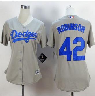 Women Los Angeles Dodgers #42 Jackie Robinson Grey Alternate Road Stitched Baseball Jersey