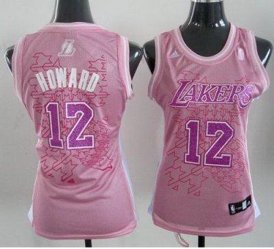 Women Los Angeles Lakers 12# Dwight Howard Pink NBA Jerseys