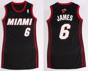 Women NBA Heat #6 LeBron James Black Dress NBA Jersey