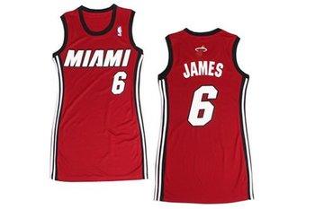 Women NBA Heat #6 LeBron James Red Stitched NBA Jersey