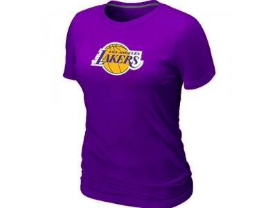 Women NBA Los Angeles Lakers Big & Tall Primary Logo Purple T-Shirt