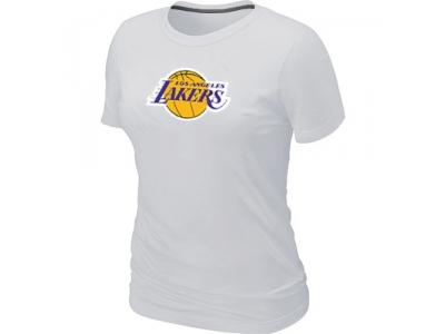 Women NBA Los Angeles Lakers Big & Tall Primary Logo White T-Shirt