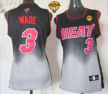 Women NBA Miami Heat #3 Dwyane Wade Black-Grey With Finals Patch Fadeaway Fashion Stitched NBA Jersey