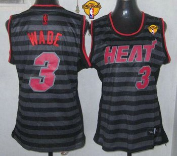 Women NBA Miami Heat #3 Dwyane Wade Black-Grey With Finals Patch Groove Stitched NBA Jersey