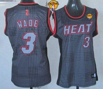 Women NBA Miami Heat #3 Dwyane Wade Black With Finals Patch Rhythm Fashion Stitched NBA Jersey