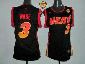 Women NBA Miami Heat #3 Dwyane Wade Black With Finals Patch Vibe Stitched NBA Jersey