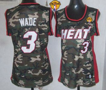 Women NBA Miami Heat #3 Dwyane Wade Camo With Finals Patch Stealth Collection Stitched NBA Jersey