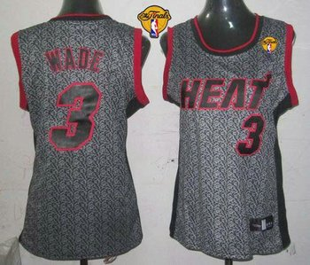 Women NBA Miami Heat #3 Dwyane Wade Grey With Finals Patch Static Fashion Stitched NBA Jersey