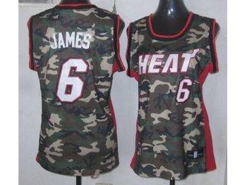 Women NBA Miami Heat #6 James camo