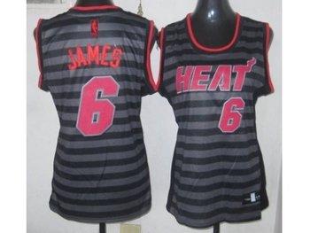 Women NBA Miami Heat #6 James grey(black strip)