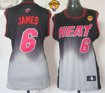 Women NBA Miami Heat #6 LeBron James Black-Grey With Finals Patch Fadeaway Fashion Stitched NBA Jersey