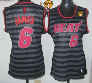 Women NBA Miami Heat #6 LeBron James Black-Grey With Finals Patch Groove Stitched NBA Jersey