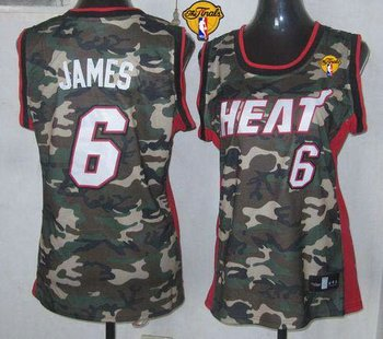 Women NBA Miami Heat #6 LeBron James Camo With Finals Patch Stealth Collection Stitched NBA Jersey