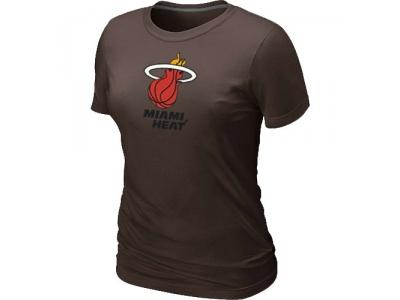 Women NBA Miami Heat Big & Tall Primary Logo Brown T-Shirt