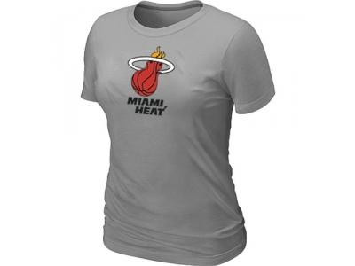 Women NBA Miami Heat Big & Tall Primary Logo L.Grey T-Shirt