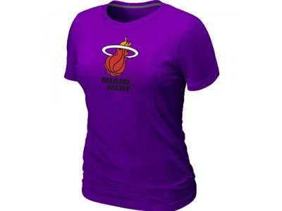 Women NBA Miami Heat Big & Tall Primary Logo Purple T-Shirt